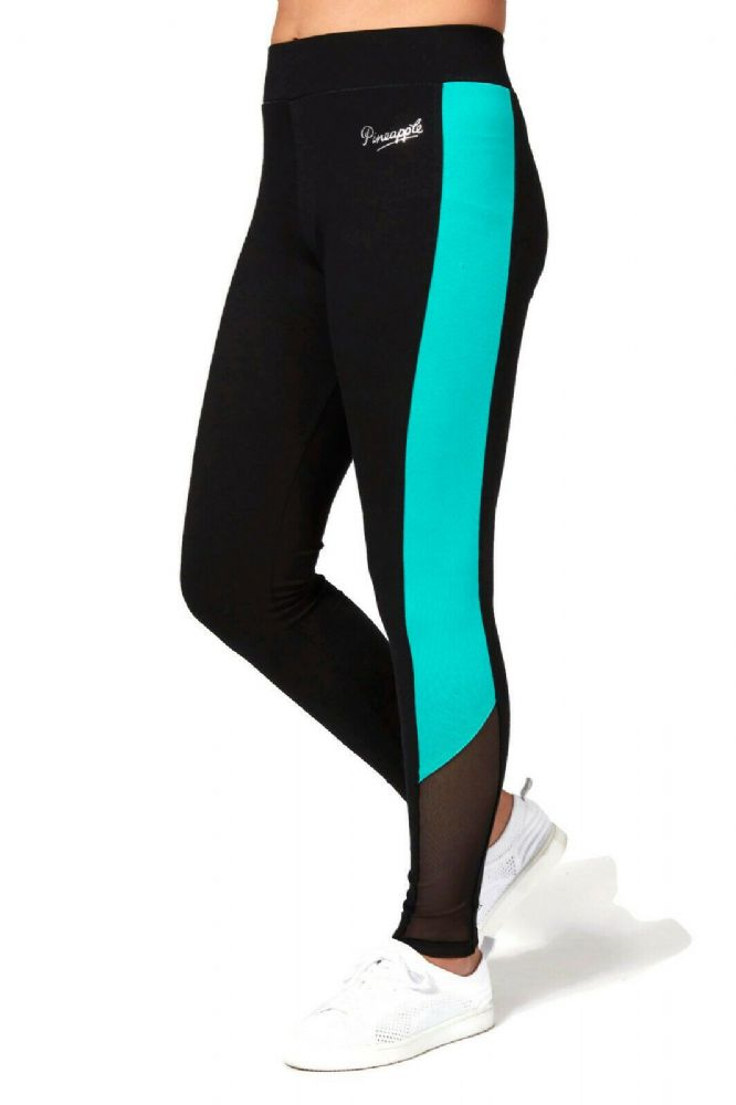 PINEAPPLE DANCEWEAR Girls Dance Leggings Black with Mint Green and Mesh Panels